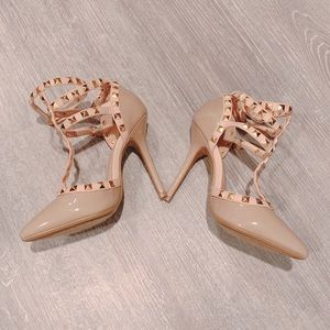 Size 5 tan studded heels